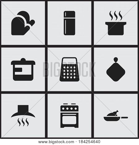 Set Of 9 Editable Cooking Icons. Includes Symbols Such As Pot-Holder, Kitchen Hood, Refrigerator And More. Can Be Used For Web, Mobile, UI And Infographic Design.