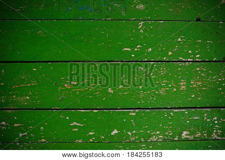 Green Barn Wooden Wall Planking Square Texture. Old Solid Wood Slats Rustic Shabby Frame Background.