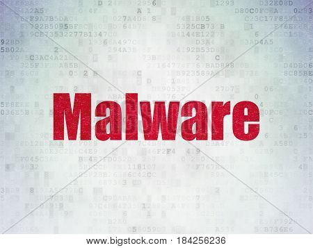 Protection concept: Painted red word Malware on Digital Data Paper background