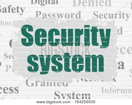 Safety concept: Painted green text Security System on White Brick wall background with  Tag Cloud