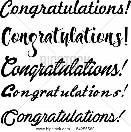 Congratulations lettering use to postcard. Different script font