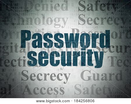 Protection concept: Painted blue text Password Security on Digital Data Paper background with   Tag Cloud