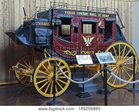 FORT WORTH, TEXAS, MARCH 15. The Texas Cowboy Hall of Fame on March 15, 2017, in Fort Worth, Texas. A Stagecoach at the Texas Cowboy Hall of Fame in the Fort Worth Stockyards in Fort Worth, Texas.