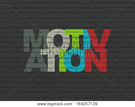 Finance concept: Painted multicolor text Motivation on Black Brick wall background