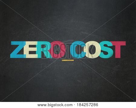 Business concept: Painted multicolor text Zero cost on School board background, School Board