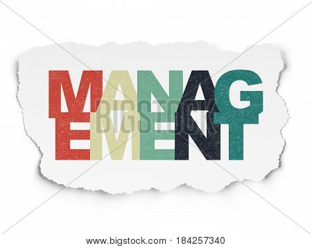 Finance concept: Painted multicolor text Management on Torn Paper background