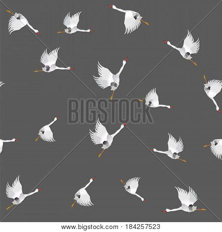 White Geese Seamless Pattern on Grey Background. Animal Bird Texture.