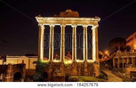 Temple Of Saturn In Roman Forum - Rome