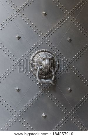 Lion head holding a ring of snakes in her mouth. Antique door knocker handle on riveted metal door in old European castle.