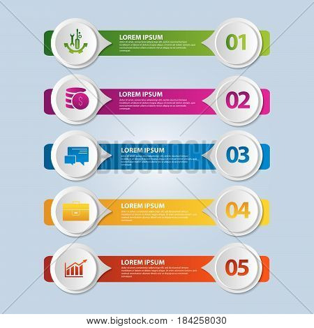 Vector Illustration. An Infographic Template With 5 Steps And An Image Of Five Rectangles And Circle