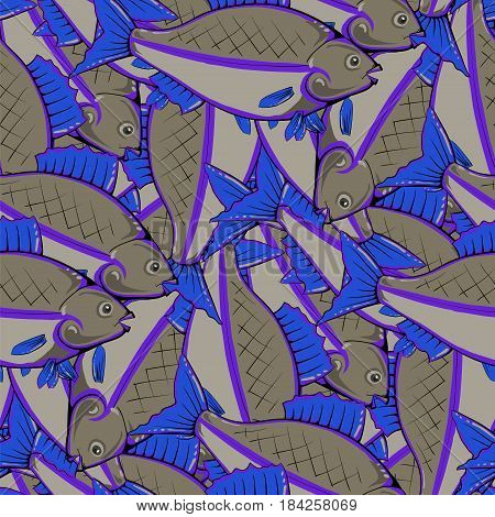 Fresh Fishes with Blue Fins and Tails. Seamless Sea Food Pattern