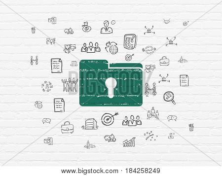 Business concept: Painted green Folder With Keyhole icon on White Brick wall background with  Hand Drawn Business Icons