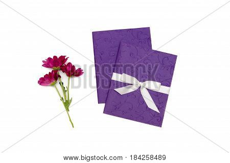 flower and purple handmade card with embossing