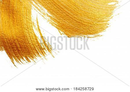 beautiful big Abstract gilded background with acrylic paint brush on white background.