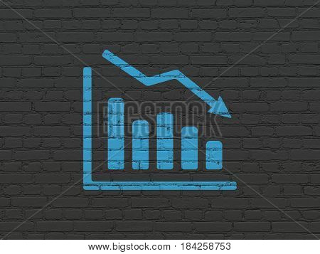 Finance concept: Painted blue Decline Graph icon on Black Brick wall background