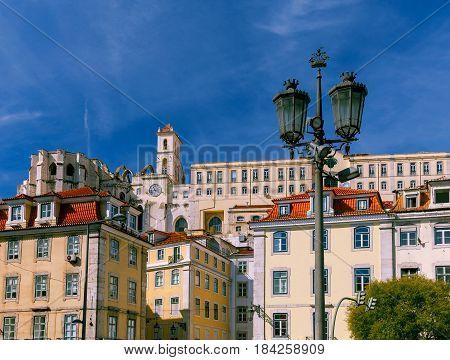 The building of the Carmelite Monastery near Rossio Square. Lisbon. Portugal.