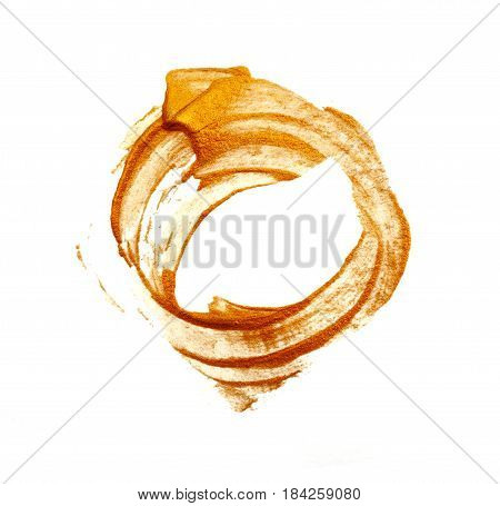 Round Abstract gilded acrylic paint brush on white background with place for your text.