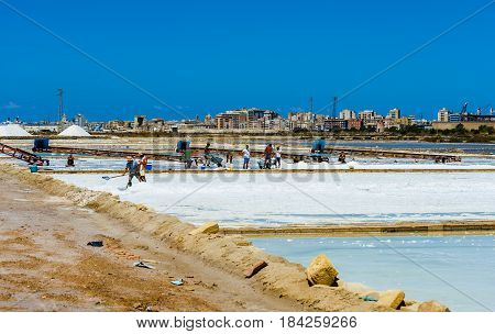 Trapani August 13 2016 - Italy: Workers shoveled the salt crystallizes out of the ground in salt farm filled with natural salt from the sea.