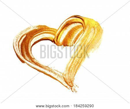 Abstract gilded heart with acrylic paint brush on white background.