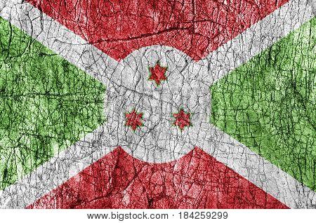 Grudge stone painted Burundi flag close up