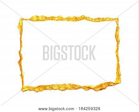 Abstract gilded painted frame on a white background with place for your text.