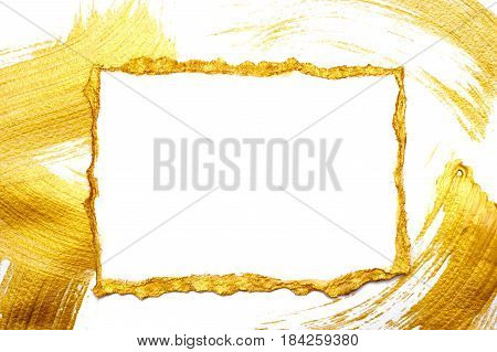 Abstract gilded painted frame on a white and gold background with place for your text.