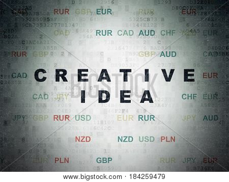 Business concept: Painted black text Creative Idea on Digital Data Paper background with Currency