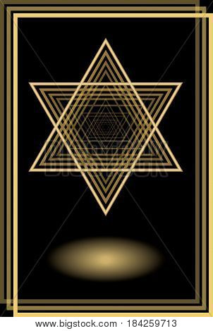 David star in optical art style, golden motif on black background with golden frame, glow, vector EPS 10