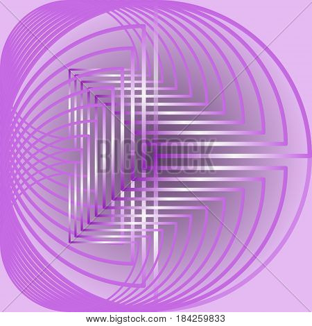 Abstract circle shape, light purple curves on pink background, vector EPS 10