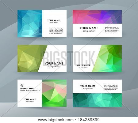 Business Card Background Blue Triangle Mosaic Horizontal Templates01