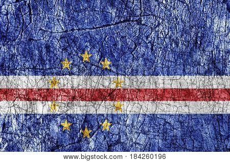 Grudge stone painted Cape Verde flag close