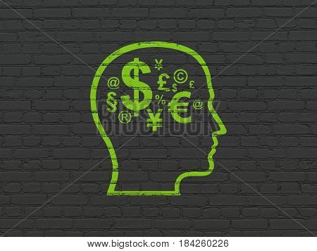 Business concept: Painted green Head With Finance Symbol icon on Black Brick wall background