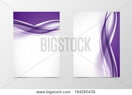 Front and back smooth design flyer template with light purple wavy lines in soft dynamic style. Vector illustration