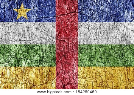 Grudge stone painted Central African Republic flag