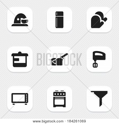 Set Of 9 Editable Food Icons. Includes Symbols Such As Utensil, Oven, Filtering And More. Can Be Used For Web, Mobile, UI And Infographic Design.