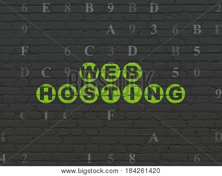 Web design concept: Painted green text Web Hosting on Black Brick wall background with Hexadecimal Code