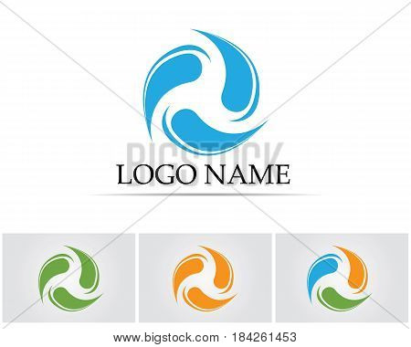 blue water, splash and gale, vector illustration