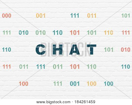 Web development concept: Painted blue text Chat on White Brick wall background with Binary Code