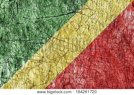 Grudge stone painted Congo Republic flag close