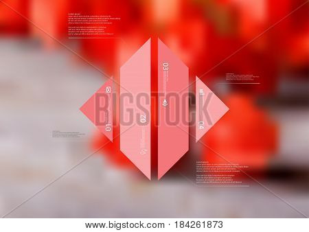 Illustration infographic template with motif of rhombus vertically divided to four standalone red sections with simple sign number and sample text. Blurred photo is used as background.