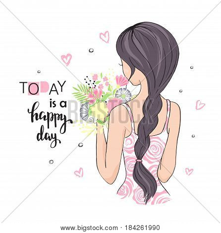Cute girl with flowers. Today is a happy day. Vector illustration for t-shirt and other uses