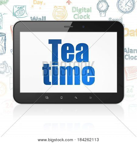 Time concept: Tablet Computer with  blue text Tea Time on display,  Hand Drawing Time Icons background, 3D rendering