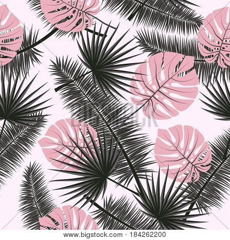 Beautiful seamless vector floral summer pattern background with tropical palm leaves. Perfect for wallpapers web page backgrounds surface textures textile