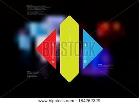 Illustration infographic template with motif of rhombus vertically divided to three standalone color sections with simple sign number and sample text. Blurred photo is used as background.