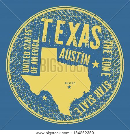 Grunge vintage round stamp or label with text Austin Texas The Lone Star state vector illustration