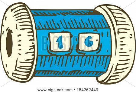 Blue Plastic Row Counter. Isolated on a White. Knitting Supplies and Accessories. Hand Drawn Illustration