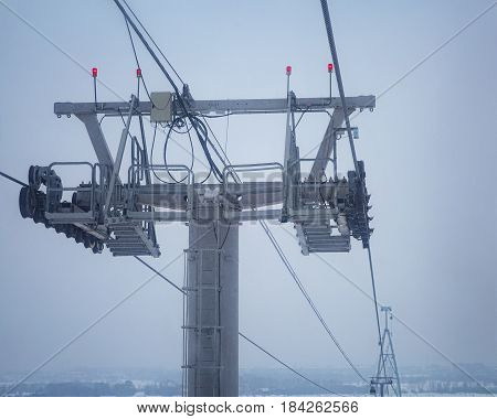 Cableway support. Upper part of support with mechanism moving the cabins