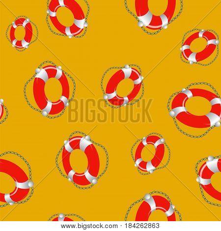Red Lifebuoy Random Seamless Pattern on Orange Background