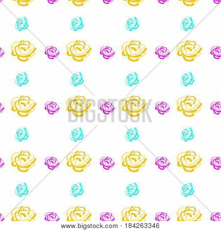 colorful flowers on white background, pink roses, seamless floral pattern