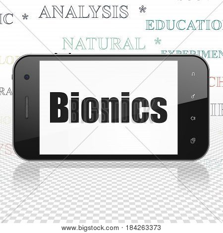 Science concept: Smartphone with  black text Bionics on display,  Tag Cloud background, 3D rendering